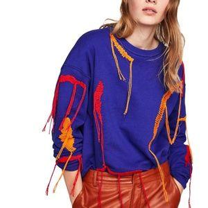 ZARA Decorative Stitch Blue Sweatshirt